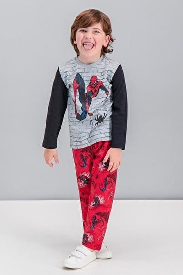 Spider-Man Spider Man Lisanslı Siyah Erkek Çocuk Pijama Takımı Gri